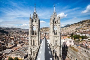 Twin steeples of the Basilica del Voto Naciona in Quito, Ecuador