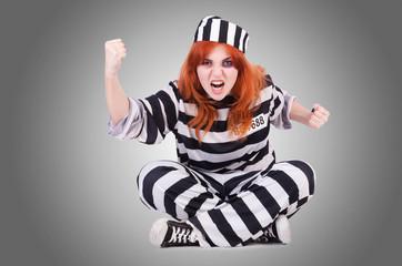 Printed kitchen splashbacks Fairytale World Prisoner in striped uniform on white