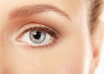 A half of a beautiful female's face, closeup, isolated on