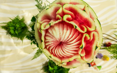 Watermelon carving in the form of flower.