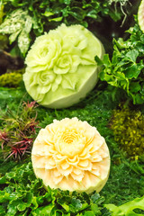Cantaloupe  fruit carving.