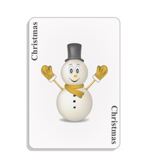 Playing card with smiling snowman and christmas