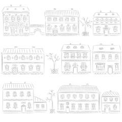 Hand drawn set of cute retro houses