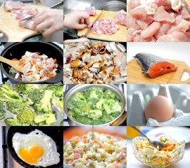 Food preparation. Set of different images food ingredients in