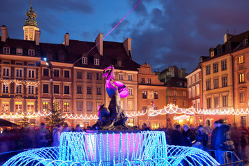Warsaw Old Town at Christmas in Poland