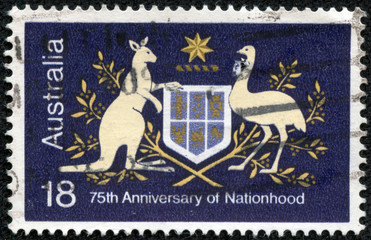 stamp from Australia illustrating 75th Anniversary of Nationhood