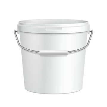 Opened Tall White Tub Paint Plastic Bucket Container
