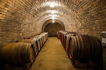 Wall Mural - Barrels in a hungarian wine cellar