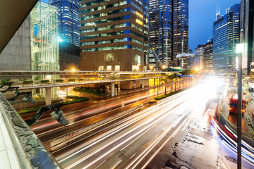 Hong Kong night view with car light