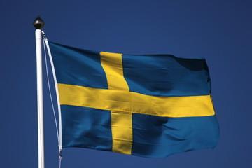 Swedish Flag On Dark Blue Sky