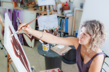 Creative artist for drawing. In the studio.