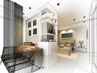 abstract sketch design of interior bedroom