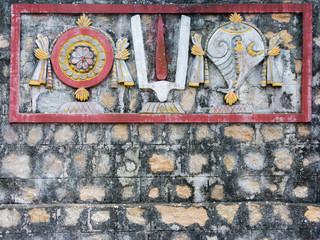 Sankha Chakra and Tilaka Mural on Temple Wall