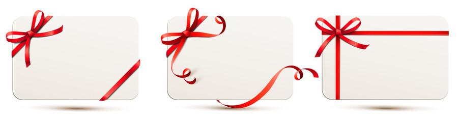 Karten Set mit roter Schleife Fototapete