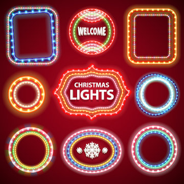 Christmas Neon Lights Frames with a Copy Space Set2