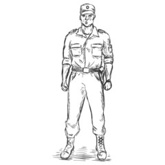 Vector Sketch Service Man