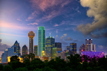 Dallas City skyline at dusk, Texas, USA Wall mural