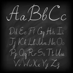 Chalk board hand drawn alphabet