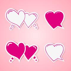 Heart shaped speech bubbles set