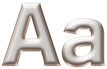 Letter A from silver alphabet on isolated white.