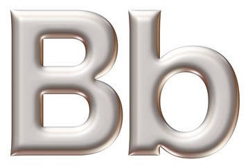 Letter B from silver alphabet on isolated white.