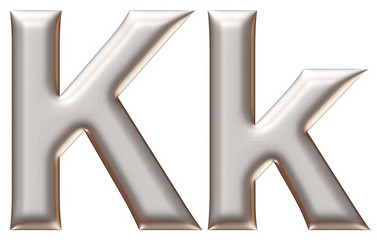 Letter K from silver alphabet on isolated white.