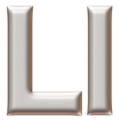 Letter L from silver alphabet on isolated white.