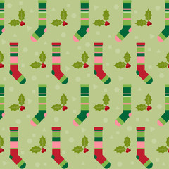 winter holidays pattern with colorful socks for gifts