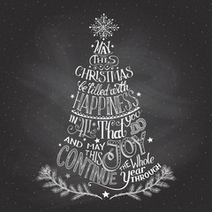 Christmas tree hand-lettering with chalk