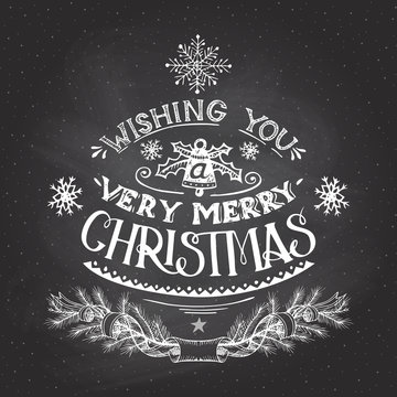 Christmas wishes hand-lettering with chalk