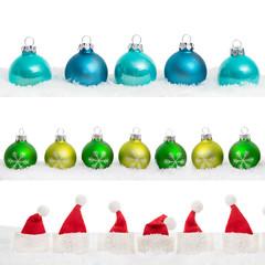 weihnachtskugeln und weihnachtsmütze