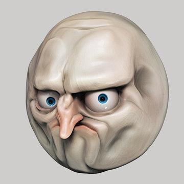 Internet meme No. Rage face 3d illustration