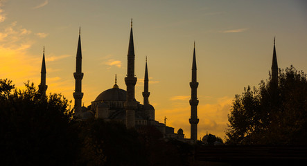Blue Mosque in Istanbul, Backlight at Sunrise