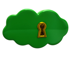 Green cloud with a keyhole