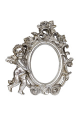 Oval baroque silver picture frame with cupid with clipping path