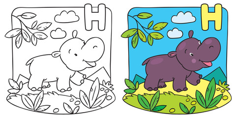Little hippo coloring book. Alphabet H