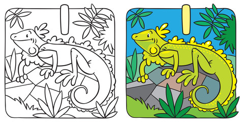 Little iguana coloring book. Alphabet I
