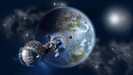 Interstellar spaceship leaving Earth