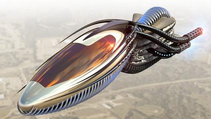 Futuristic military spacecraft or surveillance drone