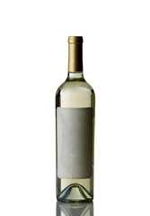Bottle of White Wine on White background with Reflection