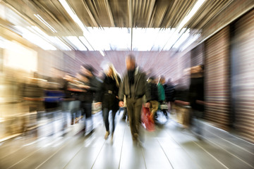 Group of People Walking in Shopping Centre, Motion Blur