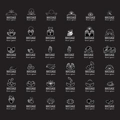 Massage Icons Set - Isolated On Black Background