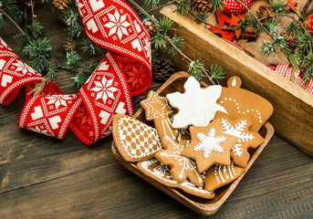 christmas decoration and gingerbread cookies. retro style