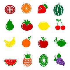 16 Fruits Icons Set