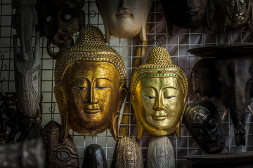 The vintage handicrafts of Buddha head statue