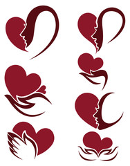 hearts, hands and woman faces