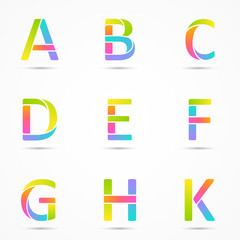 Color logo letters a, b, c, d, e, f, g, h, k font template.