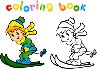 Boy skiing coloring book