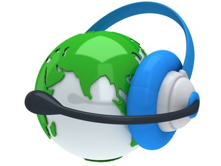 Earth planet globe with headset. 3D render.