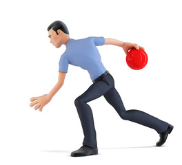 3d businessman playing bowling. Isolated, contains clipping path